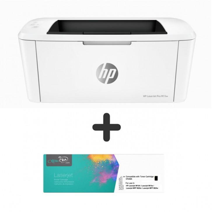 (打印機+代用碳粉套裝) HP LaserJet Pro M15W 黑白鐳射WIFI打印機